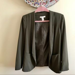 H&M Olive Green Pocketed Open Blazer